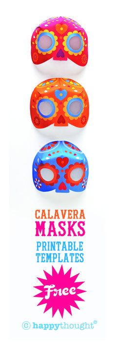 Free printable Calavera masks from Happythought to celebrate Day of the Dead. 7 color ways. happythought.co.uk/day-of-the-dead/mask-craft-calavera-templates