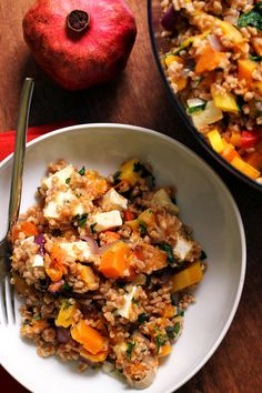Earthy flavors and sweet roasted veggies come together in this healthy farro salad with butternut squash, red onion, and brie.