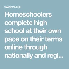 Homeschoolers complete high school at their own pace on their terms online through nationally and regionally accredited James Madison High School. Learn more. Online School Programs, High School Diploma Online, High School Programs, Homeschool High School, Homeschool Curriculum, James Madison High School, Best Careers, Student Learning, Textbook