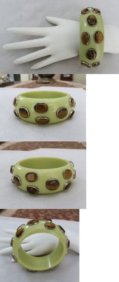 Bracelets 165879: 1 1 4 Wide Pistachio Green Lucite Tigers Eye Gem Stone Bangle Bracelet 8 1 8 -> BUY IT NOW ONLY: $55 on eBay!