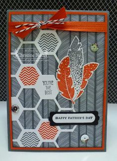 "HAPPY HEART CARDS: JAI #230 : STAMPIN' UP! FOUR FEATHERS FOR ""JUST ADD DAD"""