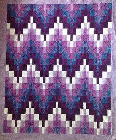 Simple Bargello made from 2 strips Bargello Quilt Patterns, Bargello Quilts, Jellyroll Quilts, Lap Quilts, Strip Quilts, Scrappy Quilts, Quilt Blocks, Quilt Kits, Purple Quilts