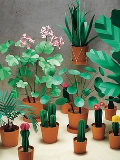 small home garden of artificial plants, how to make a paper flower, green flowers, cacti and other gengres in flower pots Origami Paper, Paper Quilling, Diy Paper, Paper Flowers Diy, Flower Crafts, Paper Installation, Papier Diy, Fleurs Diy, Paper Plants