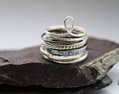Four Skinny Sterling Silver Rings stacking by CuriousOwlShop