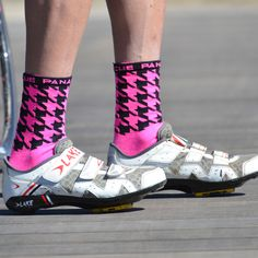 Houndstooth Socks (Pink) - Panache Cyclewear, Co.