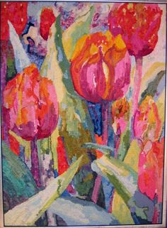 Tulips colors - these colors are amazing. so different than what is usually seen in rug hooking. love.