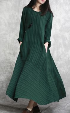 Elegant blackish green long linen dresses casual striped gown boutique patchwork caftansMost of our dresses are made of cotton linen fabric, soft and breathy. loose dresses to make you comfortable all the time. Long Linen Dresses, Simple Dresses, Casual Dresses, Fashion Dresses, Loose Dresses, Women's Fashion, New Designer Dresses, Designer Wear, Black Tunic Dress