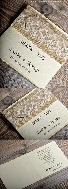 Rustic Wedding Thank You Card #barn #countrywedding #handmade