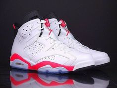 new products bde9b 1454f Nike Air Jordan Retro 6 VI Infrared White Black Mens Shoes Size Condition  is Pre-owned.