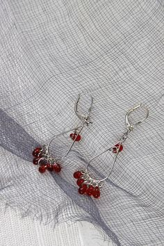 red glass and sterling findings