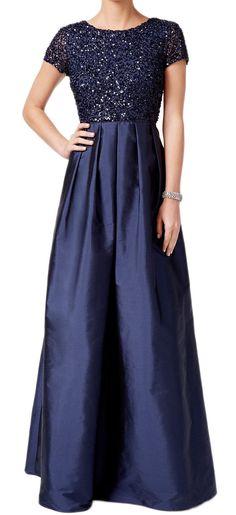 Cap Sleeves Sequin Taffeta Evening Gown Dark Navy Mother of the Brides Dress #macloth #wedding #mptherdress #evening #gown #eveninggown #formaldress #formalgown
