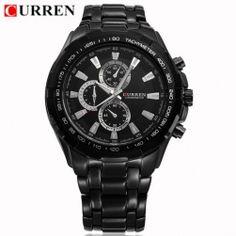 9631af78c Černé pánské hodinky Curren kovový pásek, strojek Miyota 2035 Quartz Luxus,  Watches