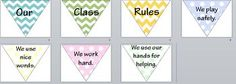 Great printable of classroom rules. Rules include: 1. We use nice words. 2. We work hard. 3. We use our hands for helping. 4. We play safely. Email or message me if you want the PPT version which will allow you to change the rules.