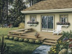 The Dewey Low Patio Decks plan. See details for Plan 002D-3004.