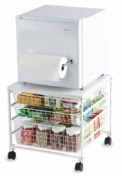 Cool mini fridge/paper towel holder/food storage station for college dorm
