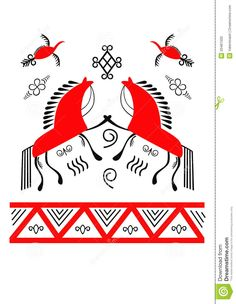 The horse is a popular motif in Mezen art.