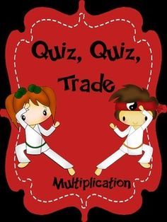 Quiz, quiz, trade is a fun, engaging, cooperative game designed for getting your students up and moving as they review important skills.  This game focuses specifically on multiplication facts.  I have included four different levels of cards that can be mixed and matched to create the set that is most appropriate for your students.This set matches my My Kicking It Math Multiplication Fact Fluency Program with an adorable karate theme.Please download the preview to make sure this product will…