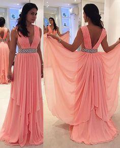 Pink Prom Dress,Chiffon Evening Dress,V Neck Prom Dress,Beading Prom…