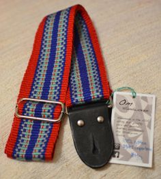 Om Handwoven Guitar Strap 2015 cotton, leather/blue, red, silver, bluegreen | Reverb.com.  Handmade, strong, comfortable, and unique high quality guitar straps.  #omhandwoven #guitarstrap #gear #guitar