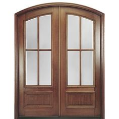 Doors Varnished Wooden And Mirror Double Front Entry