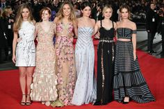 """Hermione Corfield, Ellie Bamber, Suki Waterhouse, Millie Brady, Bella Heathcote and Lily James pose at the London premiere of """"Pride and Prejudice and Zombies"""" on Monday."""
