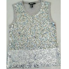 DKNY sequined sweater tank top. Beautiful sequin top in very good condition. Worn only few times. Size Small. 47% nylon; 37% rayon; 16 % angora. DKNY Tops Tank Tops