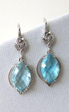 Zurie Aquamarine Glass Marquise Earrings Silver