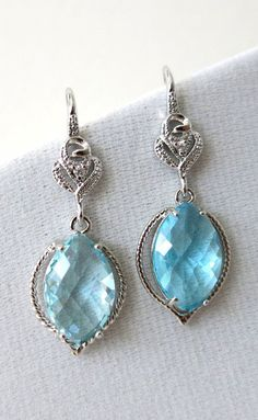 Zurie Aquamarine Glass Marquise Earrings Silver