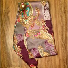 Silky Purple Paisley Scarf Great size for a belt or a headband Accessories Scarves & Wraps