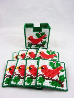 Coaster Set of 8 Plastic Canvas Cardinals by SheLeftUsThis on Etsy, $9.95