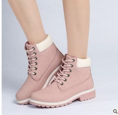 hongyi 2017 Plus Size 40 41 Women PU Leather Waterproof High Top Outdoor Boots Martin Military Combat Snow Boots Faux Fur Bootie
