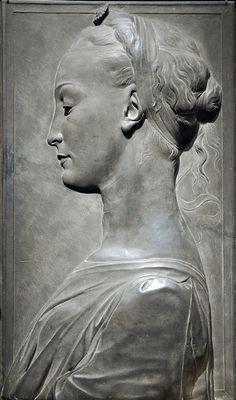 Young Woman, 1460-80  Tuscan gray sandstone (Pietra serena), traces of paint Circle of Desiderio da Settignano     Possibly carved by Ger da Settignano Italian, c. 1424-1470