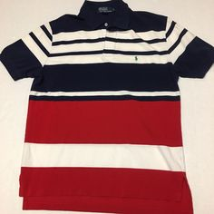 Shop Men's Polo by Ralph Lauren Blue Red size L Polos at a discounted price at Poshmark. Description: Amazing color way and design! No flaws. Sold by jweb321. Fast delivery, full service customer support.
