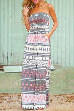 Strapless Geometric Print Sleeveless Dress
