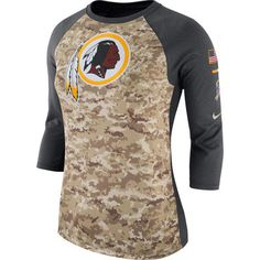 5af845813 Women s Washington Redskins Nike Camo Charcoal Salute to Service Legend  Three-Quarter Raglan Sleeve