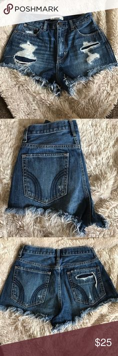 Hollister jean shorts Distressed jean shorts in perfect condition Hollister Shorts Jean Shorts