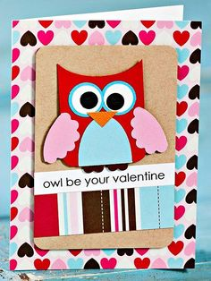 Cute Owl Valentine's Day Card - so adorable! - More DIY Valentine's cards: by ashleigh.f.mcmahon