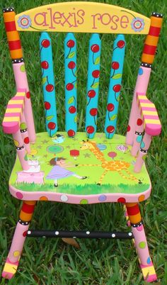 DIY Furniture Plans & Tutorials : Rocker Custom Painted Rocking Chair for Children Hand Painted Rocker Boys or Gir Painted High Chairs, Painted Rocking Chairs, Old Rocking Chairs, Funky Painted Furniture, Kids Furniture, Painted Benches, Painted Tables, Decoupage Furniture, Furniture Stores