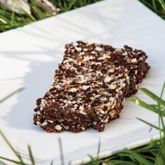chocolate chia bars - Use raw cacao powder. Great idea for camping snack or easy breakfast or lunch item.