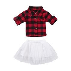 Baby Girls Princess Plaid Flannel T-Shirt Tutu Skirt Set Valentinstags Outfits, Dance Outfits, Kids Outfits, Fashion Outfits, Red Fashion, Tutus For Girls, Girls Bows, Shirts For Girls, Cheap Girls Clothes