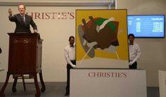 Tyeb Mehta's Untitled (Falling Bull), 1999, at the Christie's auction in Mumbai.