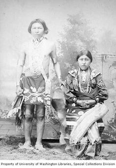 Studio portrait of a man and woman from the Osage Tribe in traditional clothing, Arkansas City, Kansas, 1892