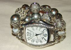 Slate and Silver Chunky Beaded Watch Band and Face by BeadsnTime, $30.00