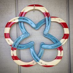 Star Horseshoe Wreath, Patriotic Horseshoes, American Flag Horseshoe Wreath, Red White and Blue Wreath, Country Western Horseshoe Wreath