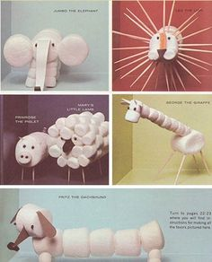 Marshmallow animals - great snack idea for creation, animal, or noah's ark lessons