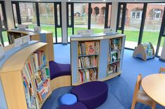 Curved library shelving