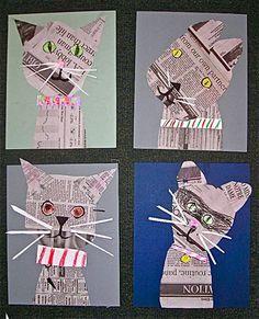 Collage cats in the style of Denise Fiedler, vintage artist. A link to Fiedler's. - Collage cats in the style of Denise Fiedler, vintage artist. A link to Fiedler's own website is o - Art 2nd Grade, Grade 1, Journal D'art, Arte Elemental, Classe D'art, Newspaper Crafts, Newspaper Collage, Recycle Newspaper, School Art Projects