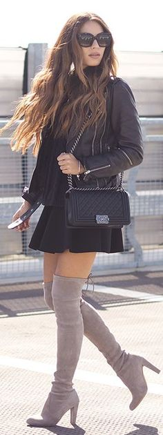Lydia Elise Millen Black A-line Skirt Black Sweater Black Moto Jacket Gray Suede O T K B Fall Inspo