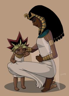 Toddler Atem and his mom