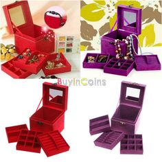 Classic Elegant 3-Tier Organizer Holder Jewelry Ring Necklace Storage Box Case -- BuyinCoins.com